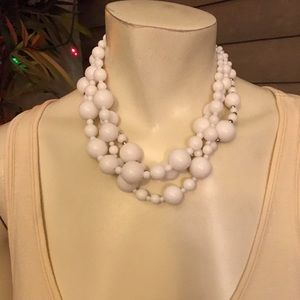 Vintage White Beaded Triple Strand Necklace